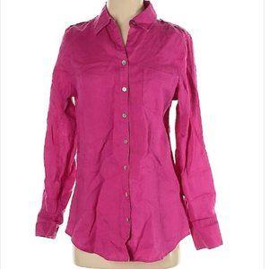 Soft Surroundings Pink Linen Button Front Shirt S